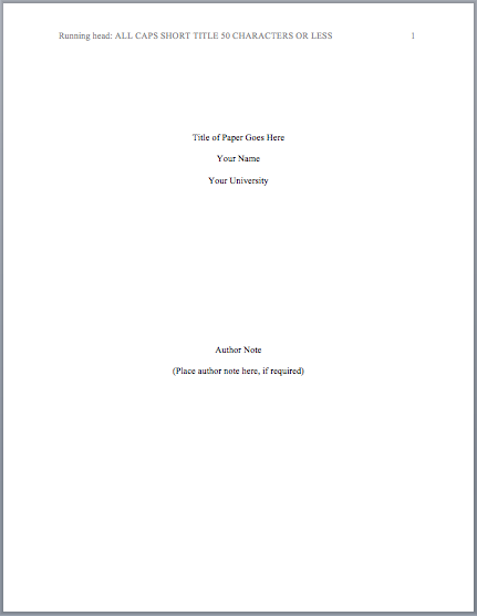 APA Format Title Page MLA Format – Cover Page for Research Paper