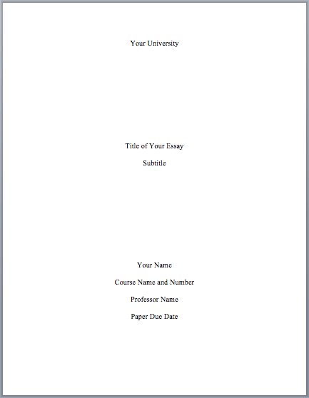 Cover page for college admissions essay