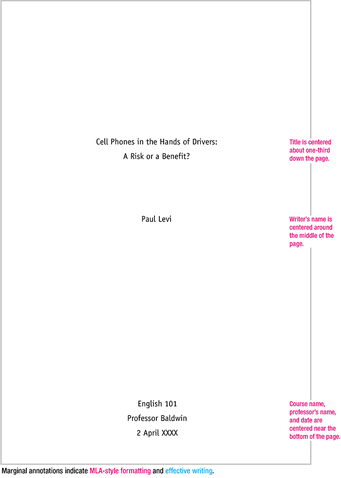 apa style cover page for essay