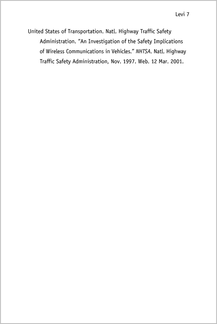 mla format title page sample