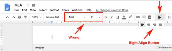 how to put page numbers in header google docs