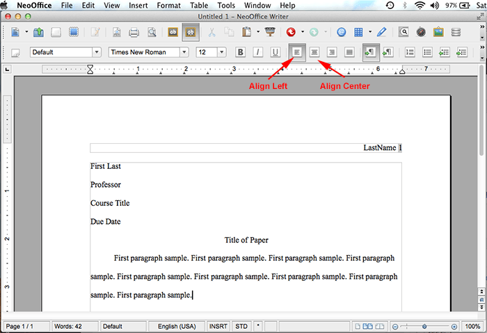 mla format using neooffice