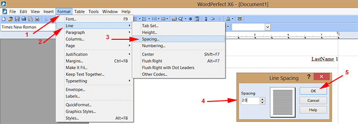 How to doublespace on word perfect 12?