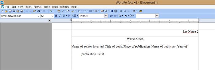 format works cited