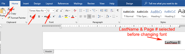 Mla Microsoft Word 2019 Header 2