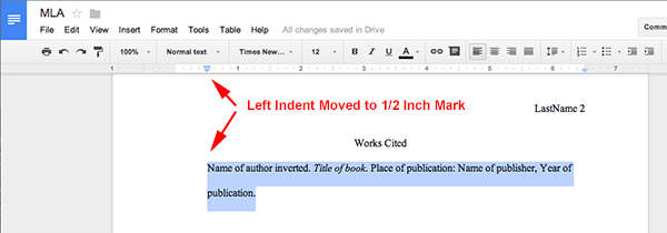how to write apa format in google docs