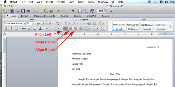 how to use mla format on word