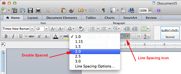 how to setup line spacing to double spaced