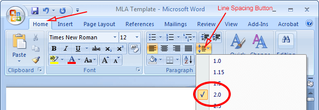 how to set word to mla format